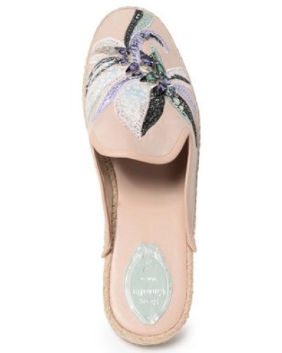 Embellished Suede Slippers Neutral