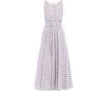 Belted Striped Cotton And Linen-blend Midi Dress