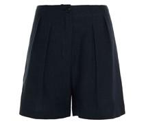 Shorts aus Einer Leinen-ramiemischung mit Falten