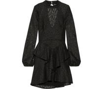 Cutout Ruffled Corded Lace Mini Dress Schwarz