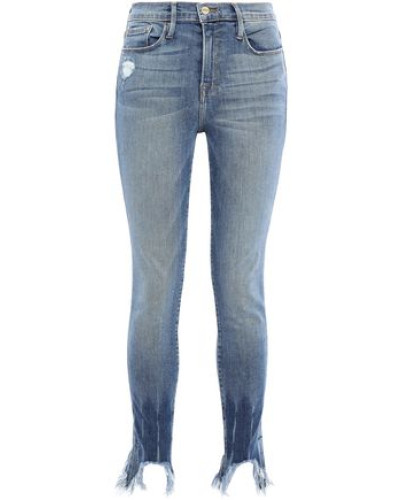 Le Skinny De Jeanne Cropped Distressed High-rise Skinny Jeans Light Denim