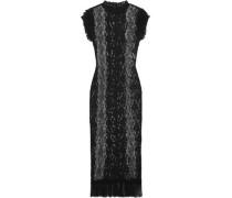 Ruffled stretch-lace midi dress