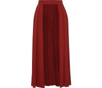 Erduna Open-front Pleated Crepe Midi Skirt