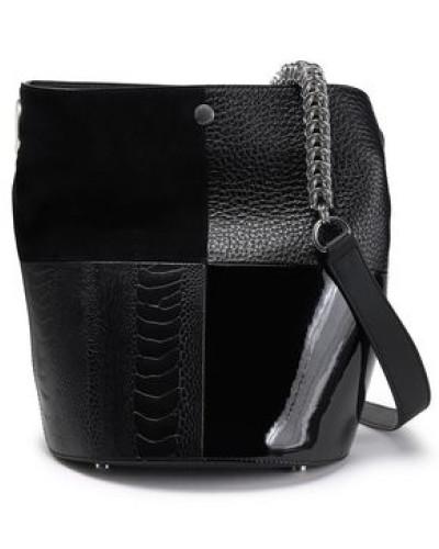 Woman Genesis Chain-trimmed Paneled Leather Bucket Bag Black