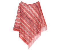 Fringed Crochet-knit Poncho Rot