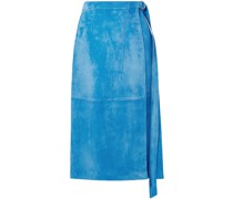 Wrap-effect Belted Suede Midi Skirt