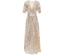 Gathered Sequined Mesh Maxi Dress