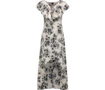 Shanice Floral-print Crepe De Chine Midi Dress Elfenbein