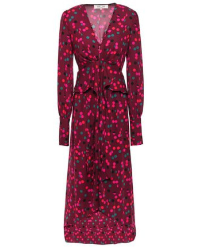 Asymmetric Gathered Printed Crepe Dress Burgundy