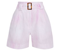 Belted Tie-dyed Linen Shorts