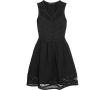 Macramé And Ponte Mini Dress Schwarz