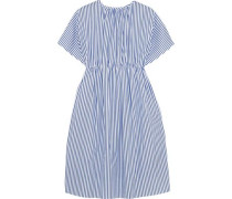 Gathered striped cotton dress