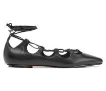 Adona Lace-up Leather Flats Schwarz