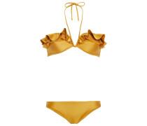 Neckholder-bikini mit Mesh-besatz und Rüschen