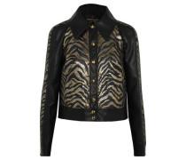 Lamé jacquard-paneled faux leather jacket