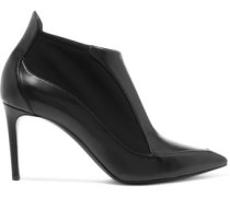 Scuba-paneled leather ankle boots