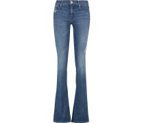 The Runaway Distressed Mid-rise Flared Jeans Mittelblauer Denim