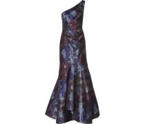 One-shoulder Gathered Jacquard Gown Blau