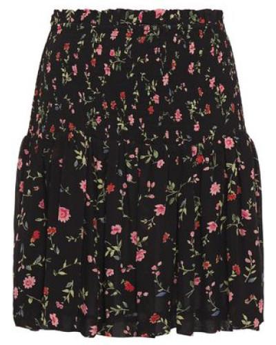 Woman Elm Shirred Floral-print Georgette Mini Skirt Black