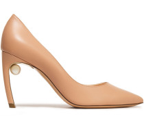 Woman Mira 90 Faux Pearl-embellished Leather Pumps Sand