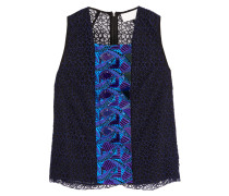 Phoenicia Embellished Guipure Lace Top Mitternachtsblau