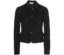 Cropped Bow-embellished Wool-blend Jacket Schwarz