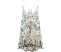Woman Electron Libre Crystal-embellished Layered Printed Silk-georgette Camisole Ivory