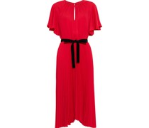Asymmetric Belted Pleated Crepe De Chine Dress