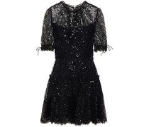 Tie-detailed Sequined Lace Mini Dress