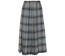 Pleated Zip-detailed Checked Woven Mini Skirt
