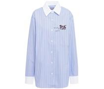 Bedrucktes Hemd aus Baumwollpopeline mit Streifen