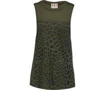 Leopard-print Modal-jersey Tank Armeegrün