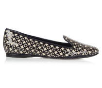 Maura Laser-cut Patent-leather And Canvas Loafers Mitternachtsblau