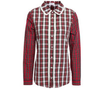 Choose Lace-trimmed Checked Cotton-poplin Shirt Red
