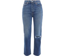 70s Stove Pipe Cropped Distressed High-rise Straight-leg Jeans