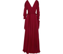 Cold-shoulder Draped Silk Gown