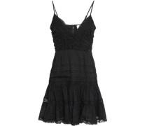 Pleated Lace-trimmed Swiss-dot Cotton Mini Dress Black