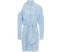 Cold-shoulder Knotted Silk-jacquard Mini Dress