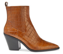 Westra Croc-effect Leather Ankle Boots