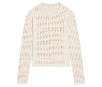 Cutout Stretch-knit Sweater Elfenbein