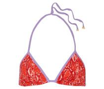 Moss Snake-print Triangle Bikini Top