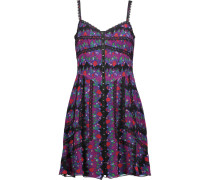 Lace-trimmed Printed Silk-voile Mini Dress Lila