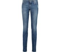 Roxanne Distressed Mid-rise Slim-leg Jeans Mittelblauer Denim