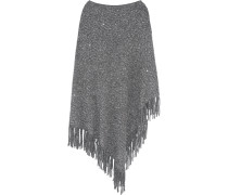 Sequined Fringed Woven Cape Grau