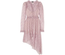 Morelia Asymmetric Ruffled Silk-lace Dress