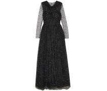 Twist-front Organza-appliquéd Tulle Gown