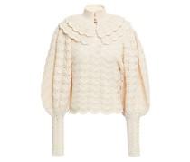 Geraffter Pullover aus Merinowolle mit Kunstperlen