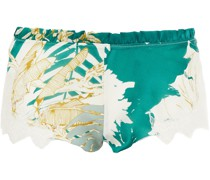 Lace-trimmed Floral-print Silk-blend Voile Shorts