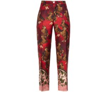 Hypnos Printed Silk-twill Straight-leg Pants