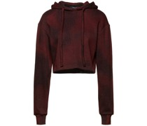 Cropped Jacquard-knit Cotton-blend Hoodie